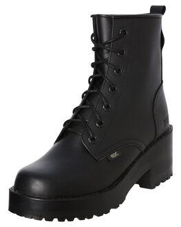 BLACK LEATHER WOMENS FOOTWEAR ROC BOOTS AUSTRALIA BOOTS - CHISELBLK