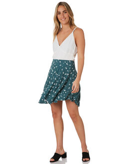 TEAL DITSY WOMENS CLOTHING ALL ABOUT EVE SKIRTS - 6453067PRNT