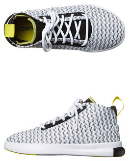 BLACK YELLOW WHITE KIDS BOYS CONVERSE SNEAKERS - 656164BLK