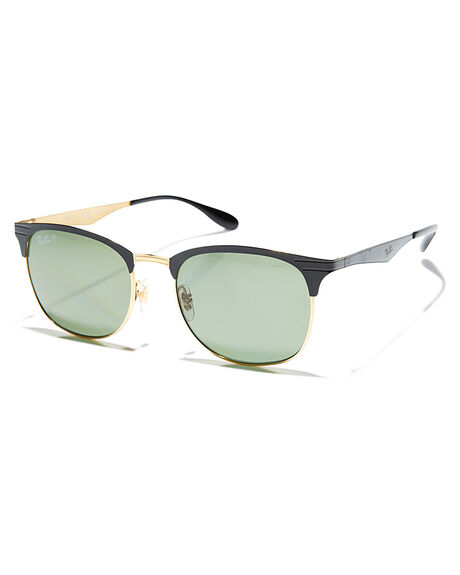4402b86c876df Rayban Clubmaster 53 Sunglasses Black Gold Green Surfstitch