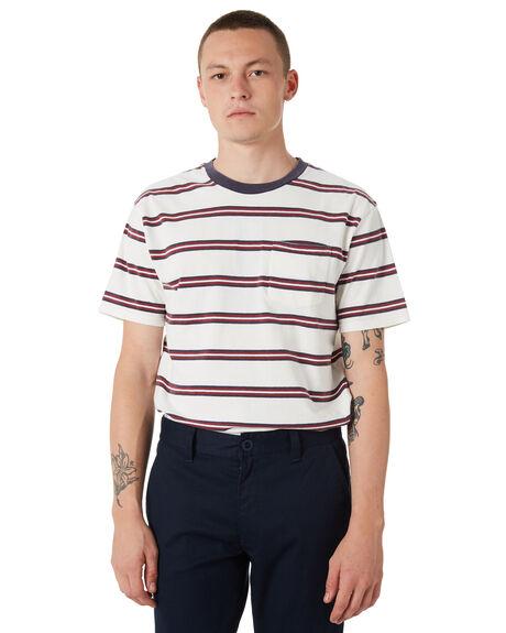 WHITE NAVY MENS CLOTHING BRIXTON TEES - 02241WHNVR