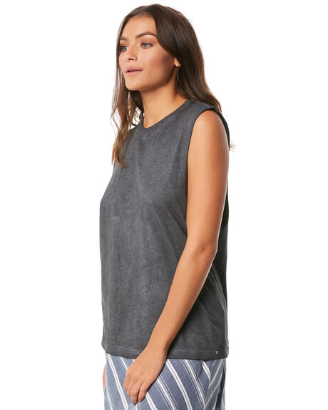 WASHED BLACK WOMENS CLOTHING O'NEILL SINGLETS - 4720901-42P