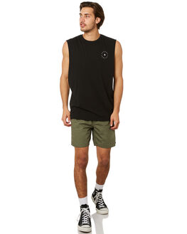 BLACK MENS CLOTHING AFENDS SINGLETS - M191085BLK
