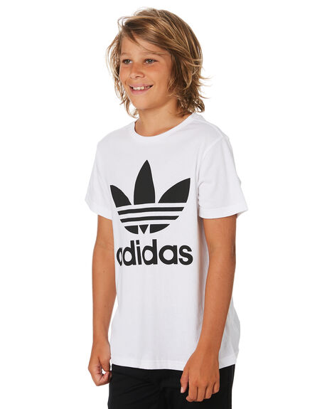 WHITE BLACK KIDS BOYS ADIDAS TOPS - DV2904WHTBK