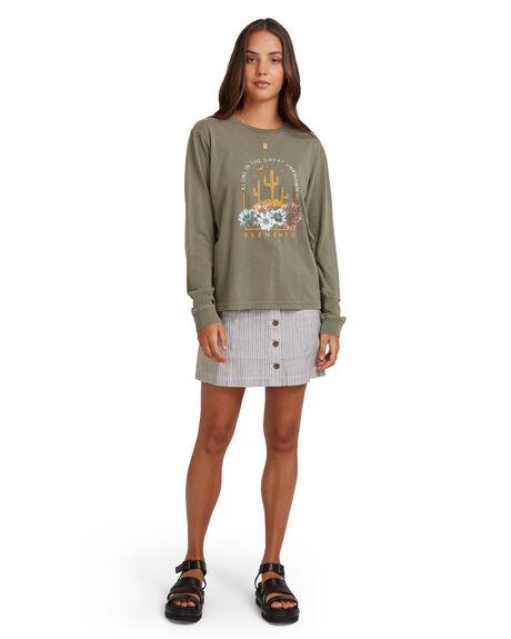 OLIVE WOMENS CLOTHING ELEMENT TEES - EL-217305-OLV
