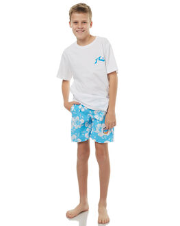 SKY BLUE KIDS BOYS OKANUI BOARDSHORTS - BBHBSK