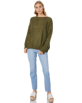 OLIVE WOMENS CLOTHING LILYA KNITS + CARDIGANS - LDK2001-OLIVE