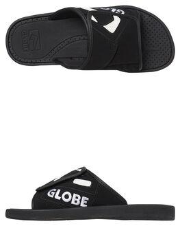 BLACK WHITE MENS FOOTWEAR GLOBE SLIDES - GBFOCBLS10178