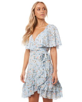 BLUE FLORAL WOMENS CLOTHING WILDE WILLOW DRESSES - K347BLUFL