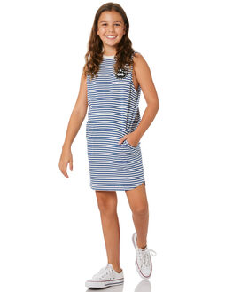 NAVY WHITE STRIPE KIDS GIRLS MUNSTER KIDS DRESSES + PLAYSUITS - MM201DR04KNVSTP