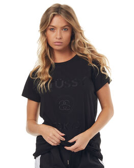 BLACK WOMENS CLOTHING STUSSY TEES - ST172020BLK