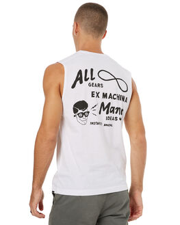 WHITE MENS CLOTHING DEUS EX MACHINA SINGLETS - DMS71966BWHT