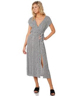 BLACK WHITE WOMENS CLOTHING MINKPINK DRESSES - MP1904464BKWHT