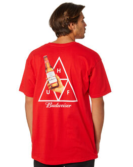 RED MENS CLOTHING HUF TEES - TS00744-RED