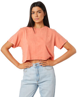 CORAL WOMENS CLOTHING THE PEOPLE VS TEES - MOTHCROPTEE-COR