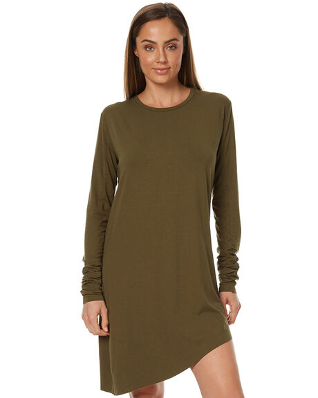 OLIVE WOMENS CLOTHING THE BARE ROAD DRESSES - 790341-03OLV
