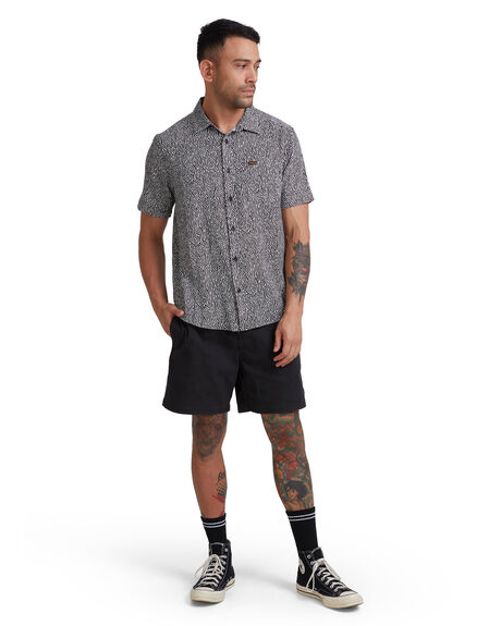 BLACK/WHITE MENS CLOTHING RVCA SHIRTS - R315187-BKW