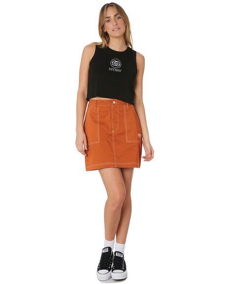 RUST WOMENS CLOTHING STUSSY SKIRTS - ST191500RUST