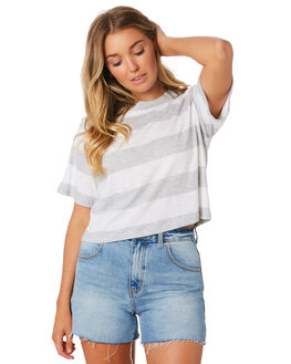 GREY STRIPE WOMENS CLOTHING NUDE LUCY TEES - NU23557GRYS