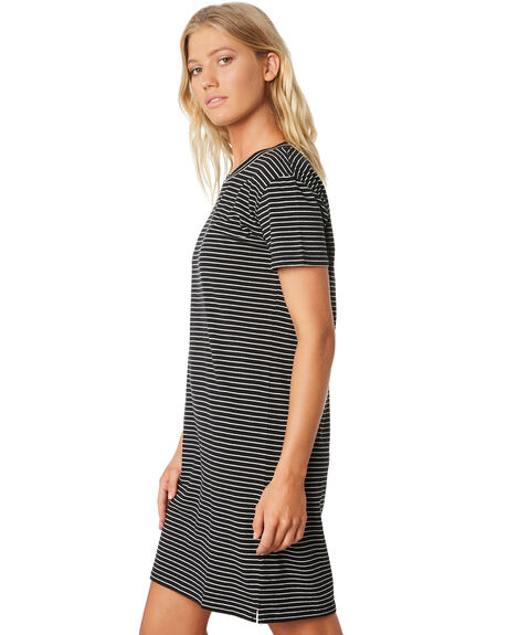 BLACK STRIPE WOMENS CLOTHING SWELL DRESSES - S8188441BLKST