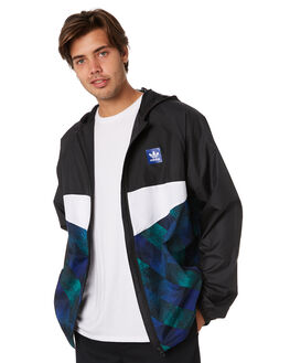 BLACK WHITE BLUE GRN MENS CLOTHING ADIDAS JACKETS - DU8380BWBG