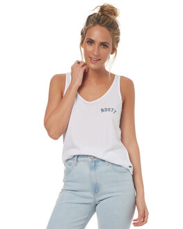 WHITE WOMENS CLOTHING RUSTY SINGLETS - TSL0527WHT