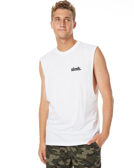WHITE MENS CLOTHING AFENDS SINGLETS - 01-08-017WHT