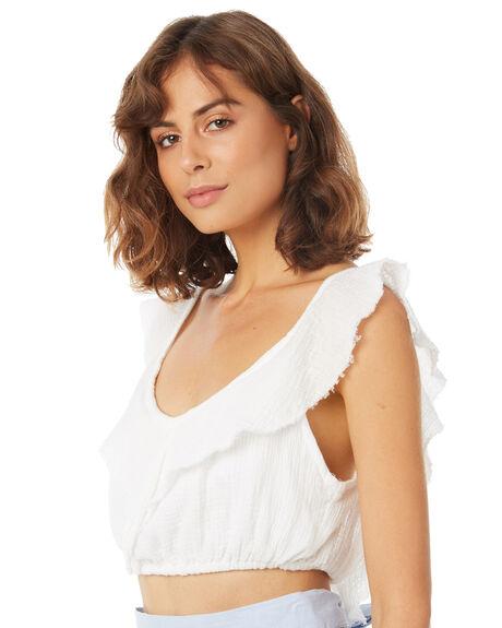 WHITE OUTLET WOMENS RUE STIIC FASHION TOPS - SA18-42-W-B-WHT