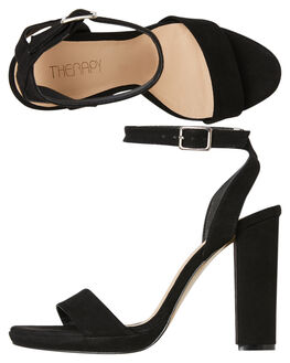 BLACK SUEDE WOMENS FOOTWEAR THERAPY HEELS - SOLE1042BLK