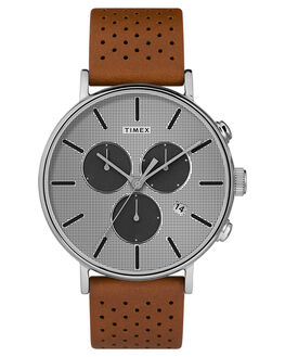 BROWN SILVER DIAL MENS ACCESSORIES TIMEX WATCHES - TW2R79900BRNSL
