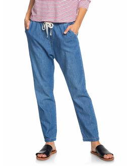 MEDIUM BLUE WOMENS CLOTHING ROXY JEANS - ERJDP03218-BMTW