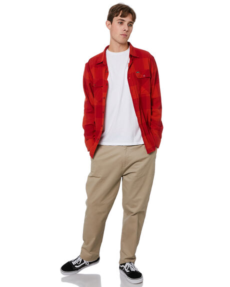 CRIMSON AURORA RED MENS CLOTHING BRIXTON SHIRTS - 01214CRAUR