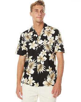BLACK FLORAL MENS CLOTHING FEAT SHIRTS - FTSHAW01BFRL