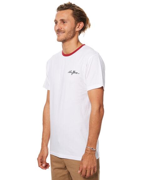 WHITE RED MENS CLOTHING RHYTHM TEES - JUL17-CT08-WHT