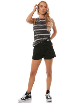 BLACK WOMENS CLOTHING RIP CURL SINGLETS - GTEUE1BLK