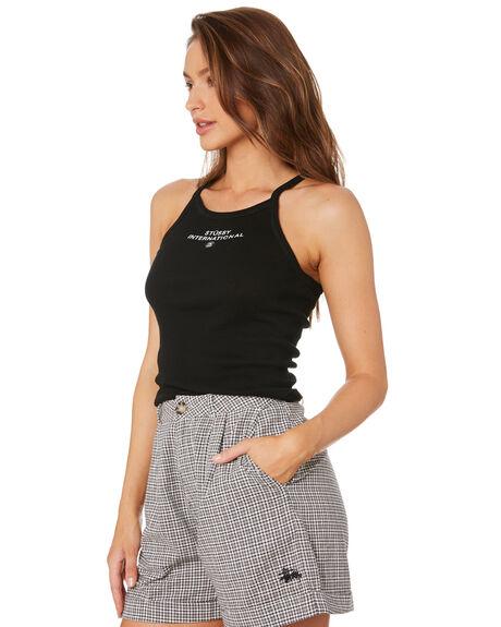 BLACK WOMENS CLOTHING STUSSY SINGLETS - ST105203BLK