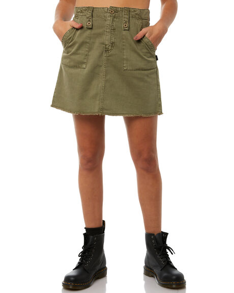 ARMY GREEN OUTLET WOMENS THRILLS SKIRTS - WTH8-306FARMY