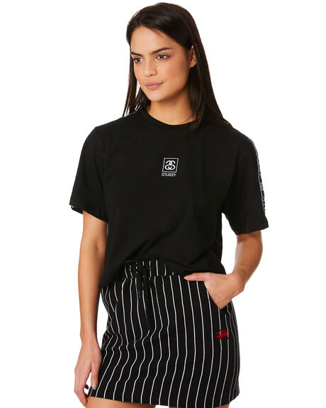 BLACK WOMENS CLOTHING STUSSY TEES - ST181012BLK