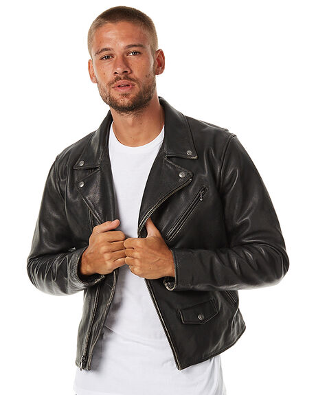 Levi s moto mens leather jacket black surfstitch for Mens black levi shirt