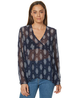 NAVY FLORAL STAMP WOMENS CLOTHING THE FIFTH LABEL FASHION TOPS - TX170445T-PRT2PRNT