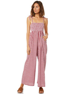 RED GINGHAM WOMENS CLOTHING SAINT HELENA PLAYSUITS + OVERALLS - SHS19112REDG