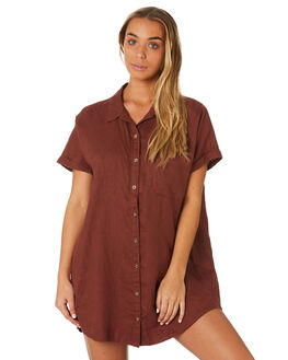 BRANDY WOMENS CLOTHING RHYTHM DRESSES - JUL19W-DR07BRN