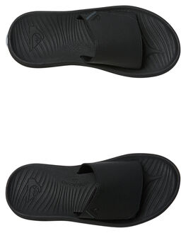 BLACK BLACK BROWN MENS FOOTWEAR QUIKSILVER SLIDES - AQYL100586XKKC