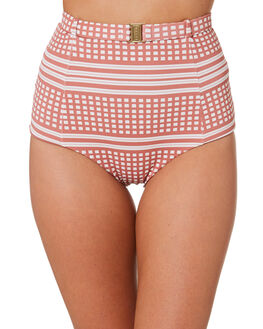 COCO CREAM CHECK WOMENS SWIMWEAR FELLA SWIM BIKINI BOTTOMS - FS-B-042CCC