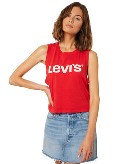 CHINESE RED WOMENS CLOTHING LEVI'S SINGLETS - 39810-0006CRED