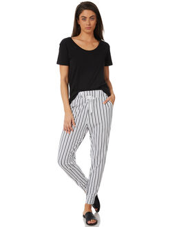 BLACK WHITE STRIPE WOMENS CLOTHING SWELL PANTS - S8182194BKWST