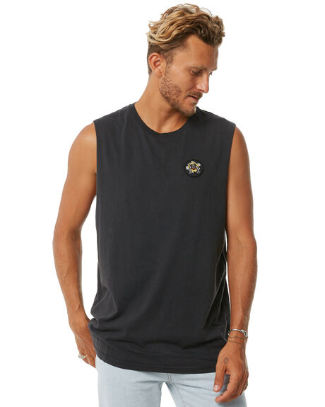 VINTAGE BLACK MENS CLOTHING GLOBE SINGLETS - GB01722005VBL