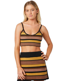 PEACH STRIPE WOMENS CLOTHING AFENDS FASHION TOPS - W183088-PST
