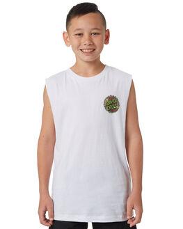 WHITE KIDS BOYS SANTA CRUZ SINGLETS - SC-YTC8107WHT
