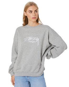 GREY MARLE WOMENS CLOTHING STUSSY JUMPERS - ST106315GREYML